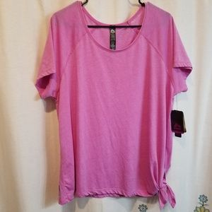 Nwt pink side tie exercise athletic shirt